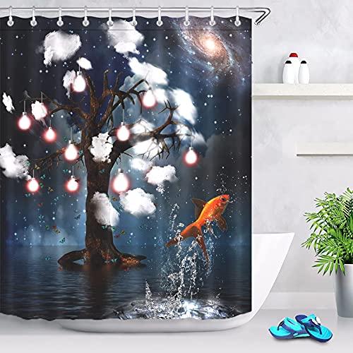 PIG-GIRL Cortina de chuveiro à prova d'água, árvore do céu estrelado e peixe pulando, estampa unilateral, conjunto de cortinas de chuveiro com ganchos resistentes ao desbotamento, 182 x 182 cm