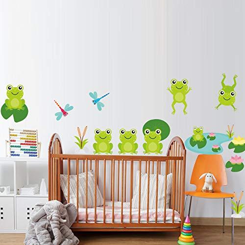 Satz Frosch Wandaufkleber Kunst Kinderzimmer Dekoration Vinyl Kinder Wandaufkleber Pool Wandtattoo Bad Wandbild wasserdicht 62x25cm