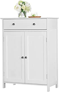"""Yaheetech Free Standing Bathroom Cabinet Storage Cabinet with 1 Drawer 2 Doors, Adjustable Shelf, 23.6x11.8x31.5"""" (LxWxH)"""
