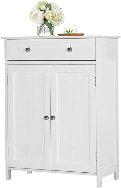 Yaheetech Free Standing Bathroom Cabinet Storage Cabinet With 1 Drawer 2 Doors Adjustable Shelf 23 6x11 8x31 5 LxWxH