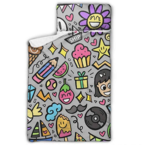 "MBVFD Set of Colorful Doodle Kids Sleeping Bag Holder Best Nap Mat with Blanket and Pillow Rollup Design Great for Preschool Daycare Sleepovers 50""x20"""