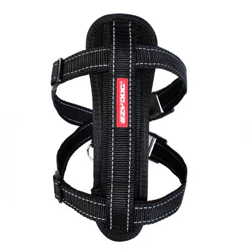 EzyDog Premium Chest Plate Custom Fit Reflective No-Pull Padded Comfort Dog Harness - Perfect for Training, Walking, and Control - Includes Car Restraint Attachment (Medium, Black)