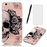Lotuslnn Coque iPhone 6 / iPhone 6S Coque (4.7 Pouce),Apple iPhone 6/6s TPU Silikon Etui Transparent Housse Cases and Covers (Coque+ Stylus Pen + Tempered Glass Protective Film)- Crâne