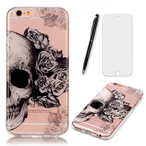 Lotuslnn Coque iPhone 6/iPhone 6S Coque (4.7 Pouce),Apple iPhone 6/6s TPU Silikon Etui Transparent Housse Cases and Covers (Coque+ Stylus Pen + Tempered Glass Protective Film)- Crâne