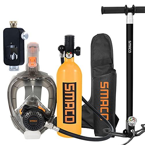 Botellas de buceo Mini Cilindro de oxígeno de Buceo, Kit de Equipos de Tanque de Buceo portátil de 1L con 20 Minutos de respiración subacuática, Equipo de respirador de Buceo Nadar Rescate,Naranja