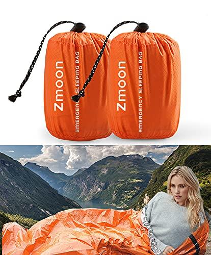 Zmoon Emergency Sleeping Bag 2 Pack Lightweight Survival Sleeping Bags Thermal Bivy Sack Portable Emergency Blanket for Camping, Hiking, Outdoor, Activities