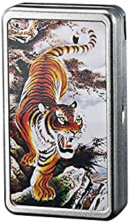 Cigarette Case with Lighter Built in USB Lighter Cigarette Box 2 in 1 Electronic Rechargeable Flameless Windproof Lighters Hold 20pcs Regular Cigarettes (Tiger)