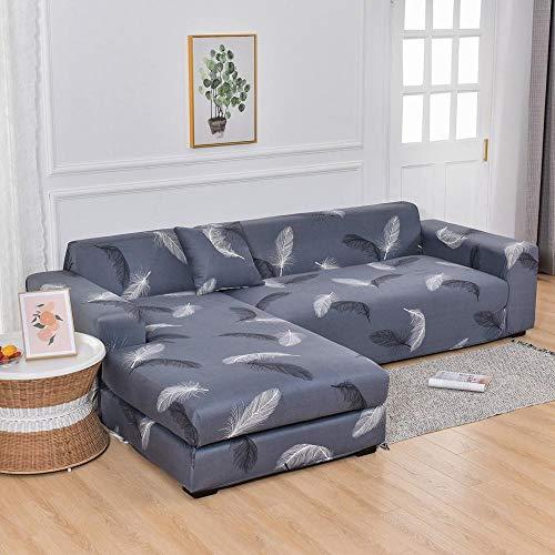 ASCV Sofabezug für Wohnzimmer Neue Stretch Bedruckte Ecksofabezug benötigt 2 PCS Couch Schonbezug Funda Sofa A8 4-Sitzer