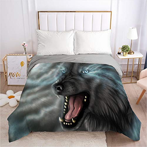 Dollin&Dockin Home Bedding Textiel Quilt Cover Bed-In-A-Bag 3D Wolf Slaap Comfortabele Ademende Rits Sluiting Queen King Classic Size Past Iedereen