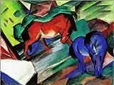 Poster 70 x 50 cm: Rotes und blaues Pferd von Franz Marc -
