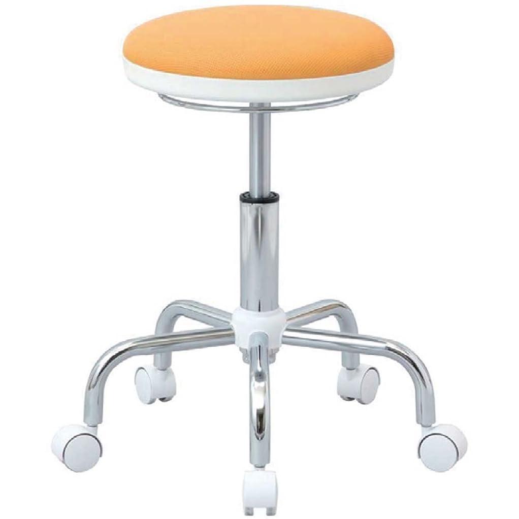 ピン畝間おとこナカバヤシ 丸椅子 キャスター付き メッシュ カウンターチェア オレンジ RZR-105OR