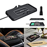 Wireless car Charger qi Fast Wireless Charging matt 3 coils Wireless Charging pad qi car Charger Mount 10W Fast Wireless Charger pad Cell Phone Charging mat Charging Stand Station Phone Holder (C6Y)