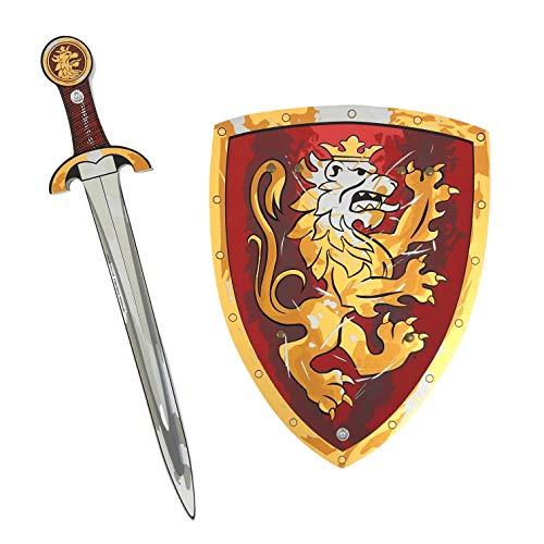 Liontouch 10750LT Noble Conjunto Medieval Caballero de Juego para niños, Rojo | Espada y Escudo de Juguete de Espuma