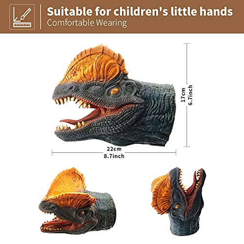 Yolococa Dinosaur Hand Puppets Realistic Latex Soft Animal Head Toys Set, Tyrannosaurus, Triceratops, Dilophosaurus, Hand Puppet Toys Gift for Kids, Party Show Imaginative Play, 3 Pack