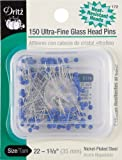 Dritz 172 Glass Head Pins, Ultra Fine, 1-3/8-Inch (150-Count)