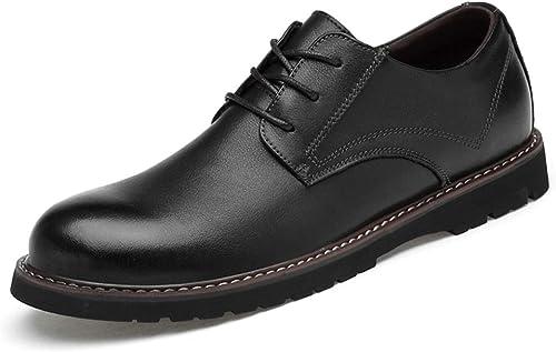 Havanadd Chaussures en Cuir pour Hommes Fashion Oxford - Chaussures Confortables de Couleur Unie à Bout Rond Classique Chaussures Oxford d'affaires (Couleur   Noir, Taille   41 EU)