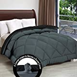 Cloth Fusion Pacifier 2nd Generation 200GSM Microfiber Reversible AC Comforter for Double Bed - (90'x100') Inches, Black & Grey