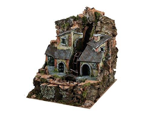 BERTONI Miniatur Dorf mit Wassermühle zwischen die Häuser, Holz, Mehrfarbig, 22x 28x 25cm