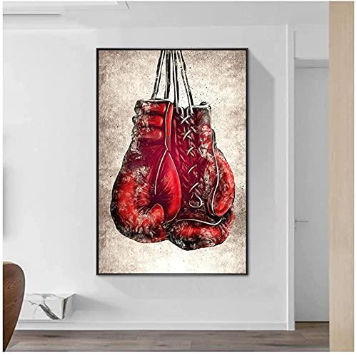 XMYC Cuadros de Pared Impresión de Arte Giclee Guantes de Boxeo Rojos Póster Pintura de Lienzo Popular Gimnasio Moderno Decoración del hogar 40x60cm sin Marco