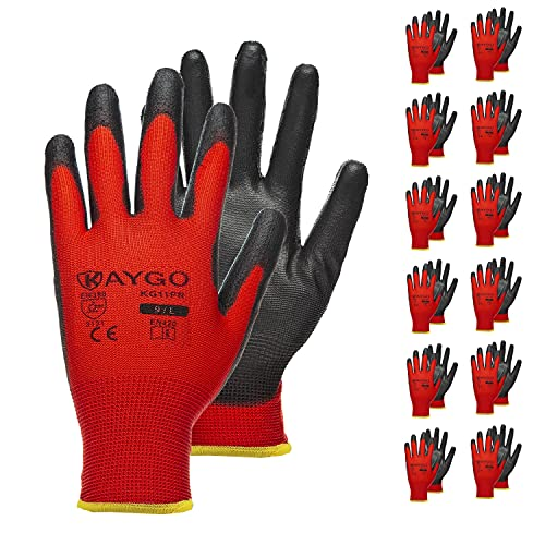 Safety Work Gloves PU Coated-12 Pairs,KAYGO KG11PR, Seamless Knit Glove with Polyurethane Coated Smooth Grip on Palm & Fingers, for Men and Women, Ideal for General Duty Work (Large, Red)