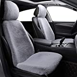 La Lana Corta del Coche 2 Delantero Seat Covers Set Invierno cálido Blanca Universal Artificial Asiento de Piel Cojín Super Suave (Color Name : Gray 2pc Cover)