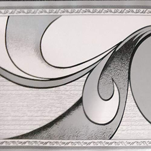 Dundee Deco BD3222 Abstrakte graue Schnörkel-Bordüre, Retro-Design, 10 m x 10 cm 10 m x 10 cm, selbstklebend