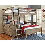 NE Kids Highlands Solid Wood Full Loft Bed with Desk in Driftwood