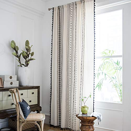 Hughapy Boho Curtains for Bedroom Bohemian Geometric Tassel Curtains Rod Pocket Cotton Linen Farmhouse Country Style Room Darkening Curtain Panel for Living Room, 1 Panel (59W x 79L, Cream)