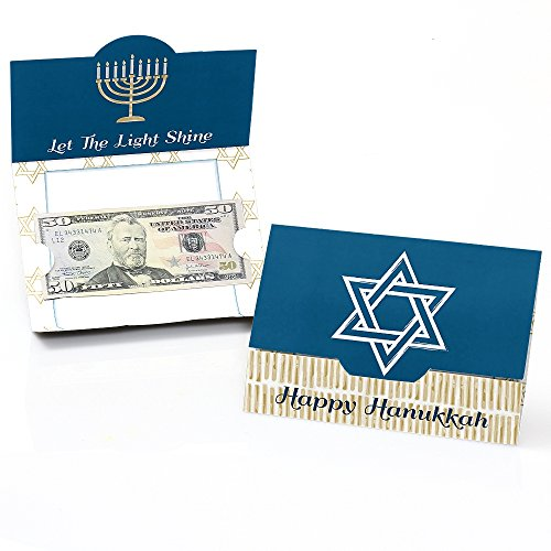 Big Dot of Happiness Happy Hanukkah - Chanukah Money and Gift Card Holders - Set of 8