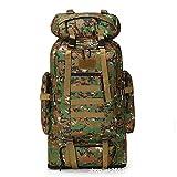 Sac à Dos Durable, avec Housse de Pluie Style Militaire Tactique, Grand Volume Sac à Dos Multifonction, Etudiant Lycéen-Camouflage de la jungle