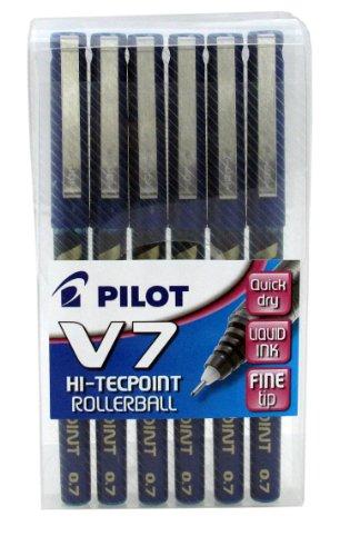 Pilot Pen V7 – Lote de 6 bolígrafos, color azul