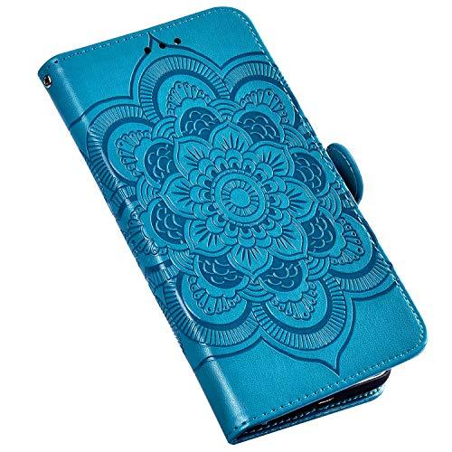 QPOLLY Kompatibel für MOTO One Pro Hülle,PU Leder Klapphülle Mandala Blumenmuster Ledertasche mit Kartenfach im Brieftasche-Stil Magnet Schutzhülle Standfunktion Handytasche Book Case,Blau