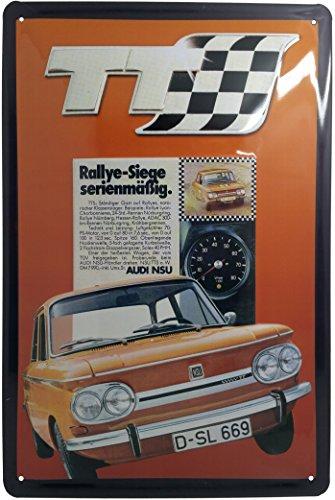 Mehr Relief-Schilder hier... Audi NSU TTS - Targa in Metallo retrò con Scritta in Lingua Tedesca, 20 x 30 cm