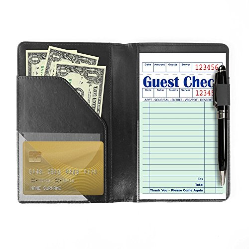 Waiter or Waitress Book Server Wallet, 5' x 7.5' in Black, Waitstaff Organizer Book that Holds Server Pads, Guest Check, Credit Card, Cash, and Fits in a Server Apron