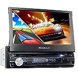 XOMAX XM-DTSBN933 Autoradio mit GPS Navigation I Bluetooth I 18 cm / 7' Touchscreen Bildschirm I DVD, CD, USB, SD, AUX I Anschlüsse für Rückfahrkamera und Lenkradfernbedienung, 1 DIN