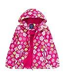 M2C Girls Outdoor Floral Fleece Lined Light Windproof Jacket with Hood 6/7 Rose