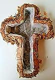 LOCKER GmbH Macetero en forma de cruz de paja y musgo, aprox. 35 x 25 x 6 cm, con lámina interior