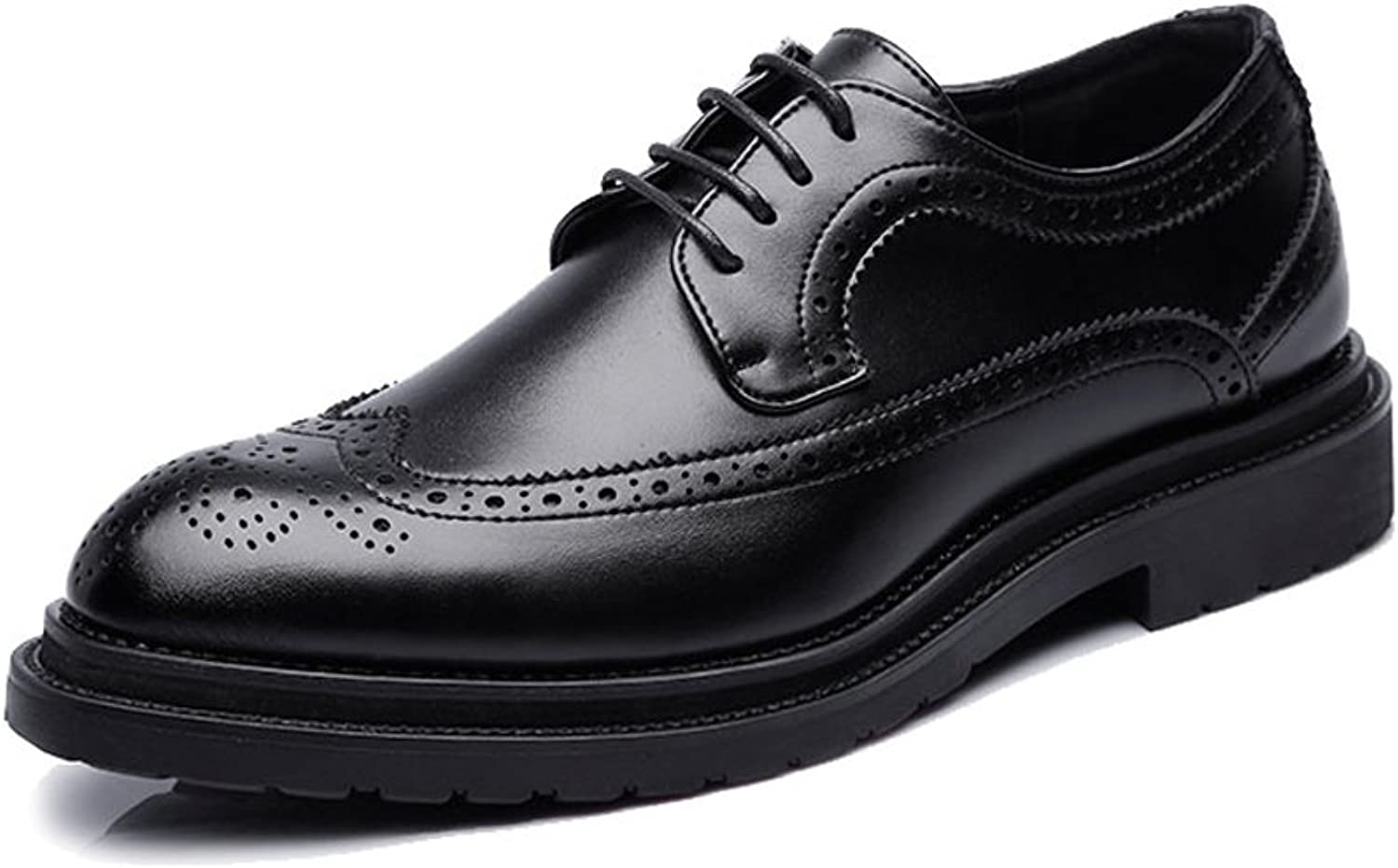 XHD- Classic shoes Simple Men's Business Brogue shoes PU Leather Upper Lace Up