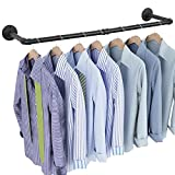 OROPY Industrial Pipe Clothes Rack 38.4', Heavy Duty Detachable Wall Mounted Black Iron Garment Bar, Multi-purpose Hanging Rod for Closet Storage, Black (Two Base)