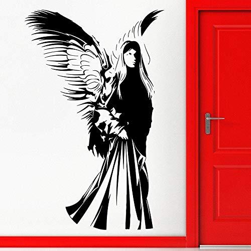 YuanMinglu Vinyl Applique Engel mit flügeln religiöse Religion 2CB5 Wohnzimmer Schlafzimmer Dekoration wandaufkleber schwarz 57x99 cm