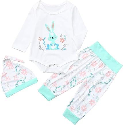 3Pcs Infant Baby Easter Day Rabbit Print Jumpsuit Romper Bodysuit + Floral Print Long Pants + Hat Outfits Set 3-24M