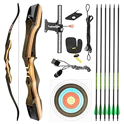 """TIDEWE Recurve Bow and Arrow Set for Adult & Youth Beginner, Wooden Takedown Recurve Bow 62"""" Right Handed with Ergonomic Design for Outdoor Training Practice (20lbs)"""
