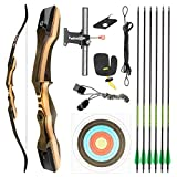 TIDEWE Recurve Bow and Arrow Set for Adult & Youth Beginner, Wooden Takedown Recurve Bow 62' Right Handed with Ergonomic Design for Outdoor Training Practice (45lbs)
