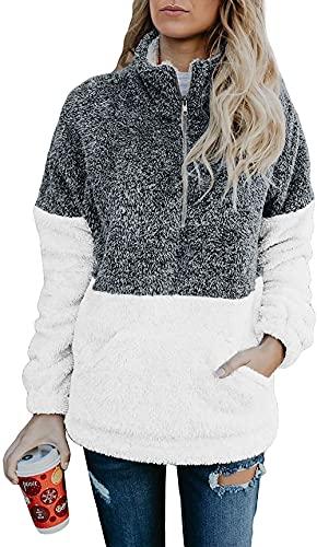 BTFBM Women Sherpa Pullover Quarter Zip Long Sleeve Fluffy Soft Fleece Jackets Sweaters Sweatshirts Hoodies Outwear Coat (Grey, Medium)