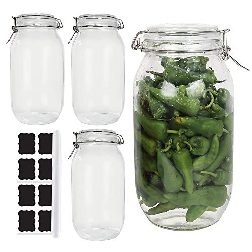 4 Pack 67 oz / 2 Liter Clear Glass Jars With Airtight Lids and Leak Proof Rubber Gasket,Wide Mouth Storage Containers, Mason Jars With Hinged Lids For Kitchen Canisters. Include 1 Pen and 8 Labels.
