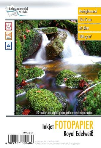 "Schwarzwald Mühle 10x15 Fotopapier: Hochglanz-Fotopapier""Edelweiß"", 10 x 15, 180g/m², 50 Blatt (Fotopapier 15x10)"