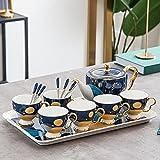 Juego de té de porcelana nórdica, sala de estar de gran capacidad hervidor de agua fría de 8 piezas hogar cerámica beber Ware café taza Set