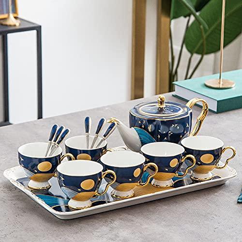 Hueso nórdico China Set de té Sala de estar Capacidad de gran capacidad Hervidor de 8 piezas Conjunto de cerámica de cerámica para el hogar Copa de café