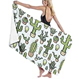 Ewtretr Telo/Asciugamano Mare Cactus Hand Drawn Pattern Microfiber Beach Towels Quick Dry Super Absorbent Bathing Spa Pool Towels for Swimming & Outdoor, 31'x 51'