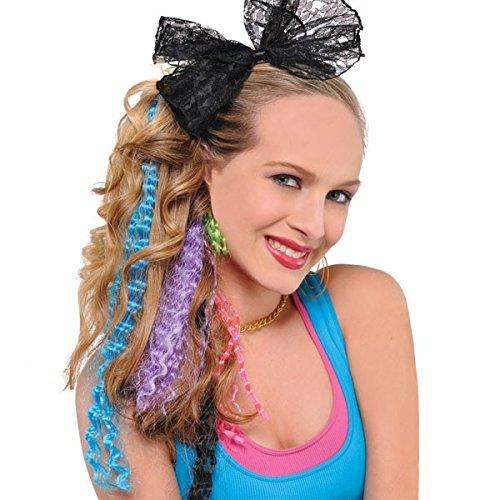 Amscan 840769-55 Extensions de Cheveux ondulés Style 80S Couleur Non Unie 38 cm